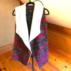 Me Jane Red Brown White Faux Fur Vest, EUC, S